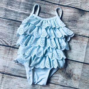 Baby Gap 0-6m light blue tiered ruffle swim suit